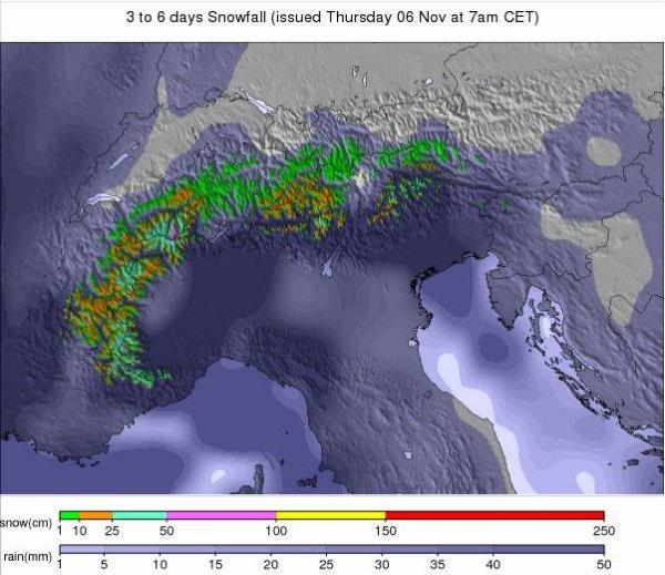 Prévisions Alpes 3 à 6 jours