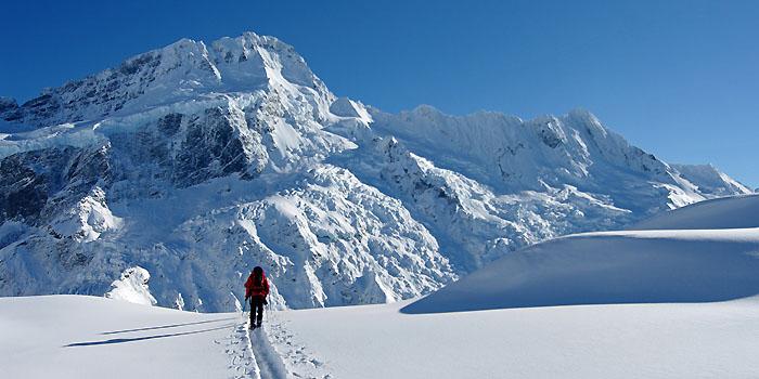 Ski de randonnée au pied du Mont Cook